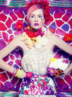Power of Flowers - Perfecto mag photographer: Hannah Sider stylist: Chloe Wise hair: Dat Tran Floral Fashion, Fashion Colours, Colorful Fashion, Fashion Prints, Fashion Art, Fashion Beauty, Fashion Photography Inspiration, Photoshoot Inspiration, Beauty Photography