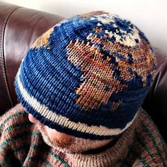 Hemisphere is a two colour, double knit hat that