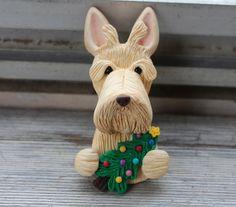 Wheaten Scottish Terrier Christmas Pin