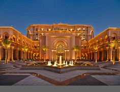 stunning view of the hotel/emirates palace/night view Islamic Architecture, Architecture Details, Restaurant Hotel, Mansion Designs, Heritage Hotel, Palace Hotel, Building Exterior, Stunning View, Abu Dhabi
