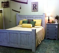 bed frame made from reclaimed wood gray