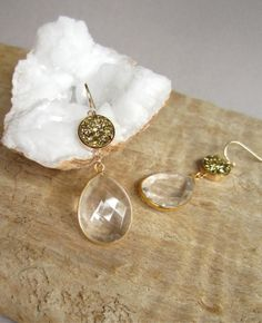 Gold Druzy Earrings Drusy Clear Crystal Quartz Teardrops 14K Gold Fill Bezel Set