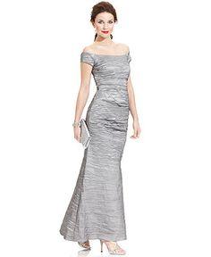 Alex Evenings Off-The-Shoulder Taffeta Evening Gown - Dresses - Women - Macy's