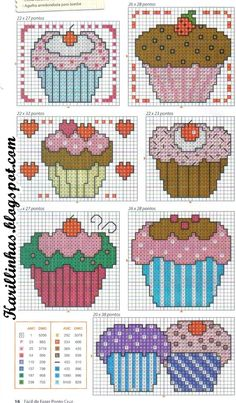 Cupcakes cross-stitch chart by barbra Cupcake Cross Stitch, Cross Stitch Love, Counted Cross Stitch Patterns, Cross Stitch Charts, Cross Stitch Designs, Cross Stitch Embroidery, Embroidery Patterns, Cross Stitch Kitchen, Plastic Canvas Patterns