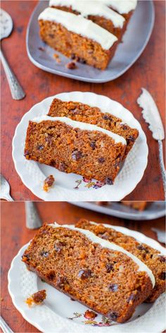 Carrot Cake Loaf with Cream Cheese Frosting - Soft, moist carrot cake that's baked as a loaf. So much faster & easier than baking a cake! Carrot Cake Loaf, Moist Carrot Cakes, Loaf Cake, Just Desserts, Delicious Desserts, Yummy Food, Baking Recipes, Cake Recipes, Dessert Recipes