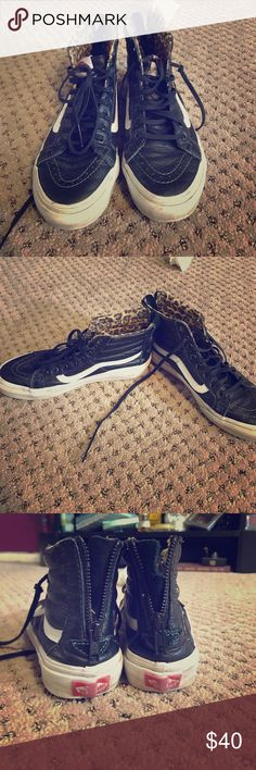 Black/white leather leopard sk8 hi slim zip vans Leather night top vans with zippers and leopard inside print. In good/loved but not perfect condition. No odor. Vans Shoes Sneakers