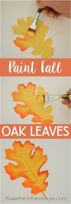Paint Fall Oak Leaves, make Fall signs, create great Autumn DIY decor or just have fun with the kids painting fall crafts. Oak leaves are easy enough for everyone. Popular Pins