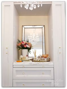DIY Custom Closet Dressing Room | Crystal chandelier | Vanity marble counter top styling Hermes perfume jewelry tray | Classy Glam Living