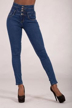 Laura Blue High Waist Jeans – Lusty Chic High Jeans, High Waist Jeans, Blue Skinny Jeans, Denim Jeans, Legs, Chic, Model, How To Wear, Cotton