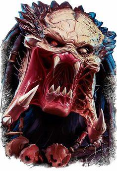 Predator by Jay Black Cult Alien Vs Predator, Predator Alien, Predator Movie, Predator Comics, Wolf Predator, Horror Art, Horror Movies, Predator Tattoo, Alien Art