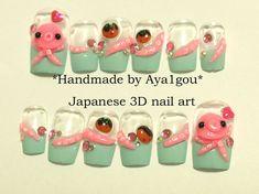 Octopus takoyaki squid tentacle mint nails kawaii deco by Aya1gou