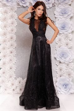 Rochie lunga neagra si bust din dantela Rn 1711n Atmosphere Fashion, Formal Dresses, Tulle, Dresses For Formal, Formal Gowns, Black Tie Dresses, Gowns, Evening Gowns, Formal Dress