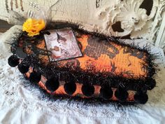 Halloween gift box coffin home decor altered mixed media vintage style Halloween candy trinket box paper