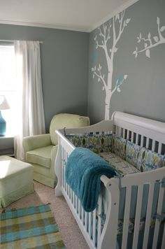 grey & green nursery - wall color and chair color - no blue