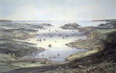 A painting showing the Carrick Roads and Falmouth many moons ago. Falmouth Cornwall, First Fleet, Seaside Art, Beautiful Images, Vintage Photos, Landscape, History, Cornwall England, Places