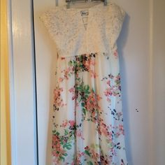 Cream and Floral dress  Open in the bust (I wore a bando under for my graduation) great spring dress! Dresses Mini