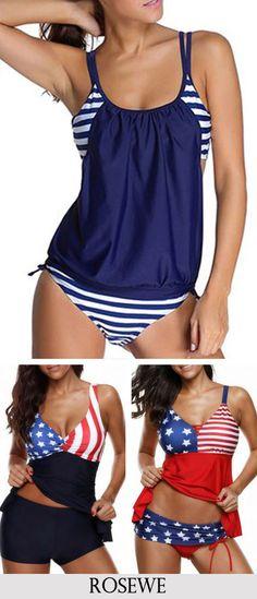 4a0569607db36 Stripe Print Navy Blue Top and Panty Swimwear.#Rosewe#swimwear#tankini  Fashion