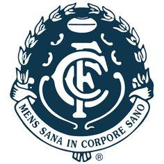 Logotype of professional Australian rules football team from Melbourne playing in AFL. Blue Football, Football Team Logos, Football Icon, Football Soccer, Soccer Teams, Sports Logos, Carlton Afl, Carlton Football Club, West Coast Eagles
