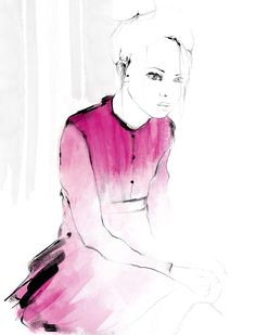 Illustration by Charlotta Larsdotter: Girl sitting