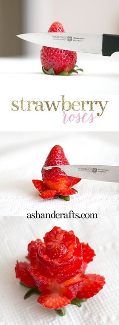 What a pretty way to serve strawberries as a snack or a cake cookie decoration alternative to icing!  Learn how to cut strawberries into roses. See this tutorial and more at ashandcrafts.com