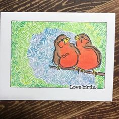 Another Kate made design Playing with pencils tonight. A little #gamsol on the birds and random crosshatching for the background. #cardmaker #ilovestamps