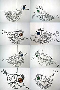 .wire birdies...3D art project mobiles: