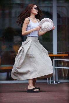 Maxi Skirt Big Pockets Big Sweep Long Skirt in Cream-colored Summer Linen Skirt - NC332.