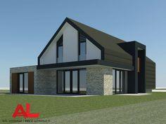 AL architectuur - Nieuwbouw | Nieuwbouwwoning | Vrijstaande villa | Vrijstaande woning | Woningbouw | Woonhuis | Schuurwoning | Vlakke dakpannen | Schuin dak | Knikdak | Stucwerk | Gevelstenen | Baksteen | Zink | Hout | Glas | Gevelbekleding | Natuurlijke materialen | Wonen | Strak | Modern | Zwart | Wit | Carport | Veranda | Lamellen | Frans balkon | Eigentijds - AL Architecten BNA | Architectuur | Interieur