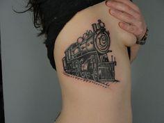 Cool Train tattoo by Annie Lloyd. Brooklyn NY