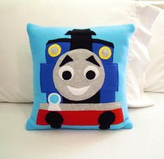 Thomas the Train Fleece Throw Pillow by PatternsOfWhimsy on Etsy
