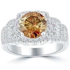 3.52 Carat Natural Fancy Cognac Brown Diamond Engagement Ring 14k White Gold #LioriDiamonds #DiamondEngagementRing