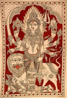 Durga - Indian Kalamkari Painting on Cotton Artist - K Murali Kalamkari Painting, Madhubani Painting, Hindus, Traditional Paintings, Traditional Art, Durga Goddess, Durga Maa, Jaisalmer, Udaipur
