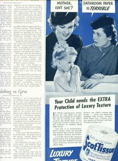Scottissue Toilet Paper Ad 1/2 Pg Mothers (1938)