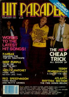 Cheap Trick, on the cover of the February 1981 edition of HIT PARADER magazine