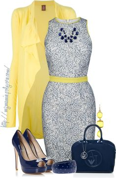 """Untitled #697"" Navy & Yellow // by mzmamie ❤ on Polyvore"