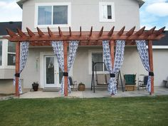 Pergola with curtains Deck Curtains, Outdoor Curtains, Outdoor Spaces, Outdoor Living, Home Deco, The Great Outdoors, Curb Appeal, New Homes, Outdoor Structures