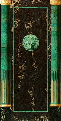 Julien Gautier-Trompe l'oeil style empire avec marbre portor, malachite et dorure 122x240cm