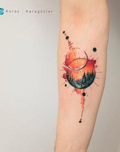 watercolor landscape tattoo © tattoo artist Koray Karagözler ❤☪️❤☪️❤☪️❤ watercolor tattoo Explosion of Colors: Beautiful Watercolor Tattoos by Koray Karagözler Unique Tattoos, Small Tattoos, Tattoos For Guys, Tattoos For Women, Beautiful Tattoos, Black Tattoos, Forearm Tattoos, Body Art Tattoos, Sleeve Tattoos