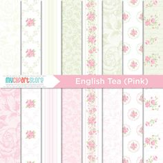 Digital Paper  English Tea Pink Rose  Instant by MyClipArtStore