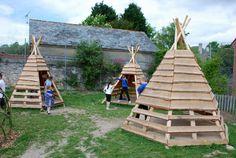 teepee pallets + logs for grandkids garden