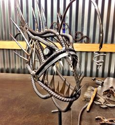 Anglerfish metal sculpture by CustomCitizen on Etsy
