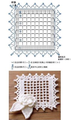 Crochet Patterns Lace Crochet Lace Edging for Handtowel ~~ sandragcoatti - Salvabrani Filet Crochet, Crochet Lace Edging, Crochet Diagram, Crochet Chart, Crochet Doilies, Crochet Flowers, Crochet Stitches, Motifs Granny Square, Crochet Square Patterns