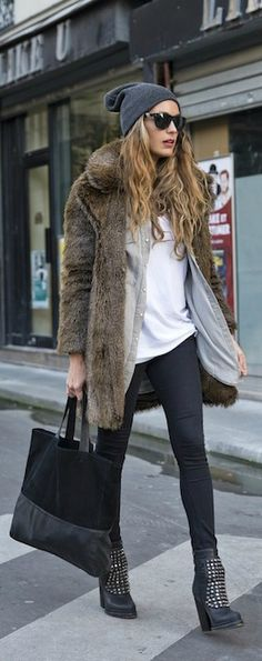 Beanie, fur coat, jeans & studded boots #style #fashion