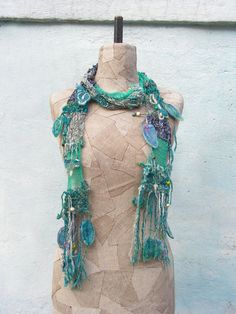 Art Hand knitted scarf Blue Bohemian clothing Gypsy by woollinen