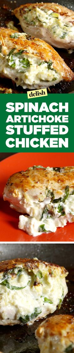 Spinach-artichoke stuffed chicken is the best way to level up your favorite party dips. Get the recipe on http://Delish.com.