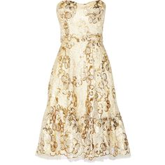 Issa Metallic lace dress ($446) ❤ liked on Polyvore featuring dresses, short dresses, vestidos, 13. dresses., gold, metallic dress, lace cocktail dresses, metallic lace dress and cream lace dress