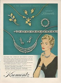 1957 KREMENTZ Rhinestone Pin Necklace Bracelet ER Vintage JEWELRY Photo Print Ad