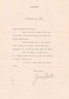 Jean Harlow Autographed Letter