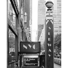 New York Subway Sign, NYC Subway Art New York City Photo Series Subway... (€14) ❤ liked on Polyvore featuring home, home decor, wall art, backgrounds, pictures, new york subway signs, new york city sign, black and white picture, nyc street sign and photo wall art