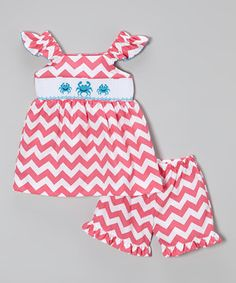 Look at this #zulilyfind! Pink Zizag Crab Smocked Tunic & Shorts - Infant, Toddler & Girls by BeMine #zulilyfinds